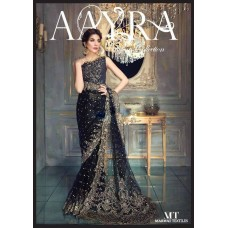 Aayra Luxury Gold & Black Embroidered Saree, 2017 Master Replica - BD-834