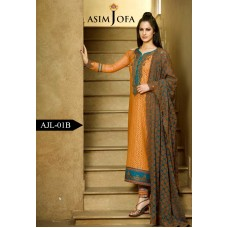 Asim Jofa Luxury Lawn Collection 2016 Original - 03 Pcs Suit AJL1-B