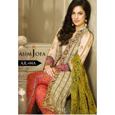 Asim Jofa Luxury Lawn Collection 2016 Original - 03 Pcs Suit AJL4-A