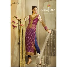 Asim Jofa Luxury Lawn Collection 2016 Original - 03 Pcs Suit AJL11-B