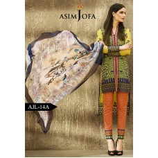 Asim Jofa Luxury Lawn Collection 2016 Original - 03 Pcs Suit AJL14-A
