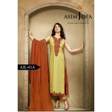 Asim Jofa Luxury Lawn Collection 2016 Original - 03 Pcs Suit AJL1-A