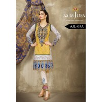 Asim Jofa Luxury Lawn Collection 2016 Original - 03 Pcs Suit AJL3-A