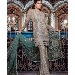 *Maria B. Embroidered Net Collection 2017 - 03 Pcs Suite - BD-1107
